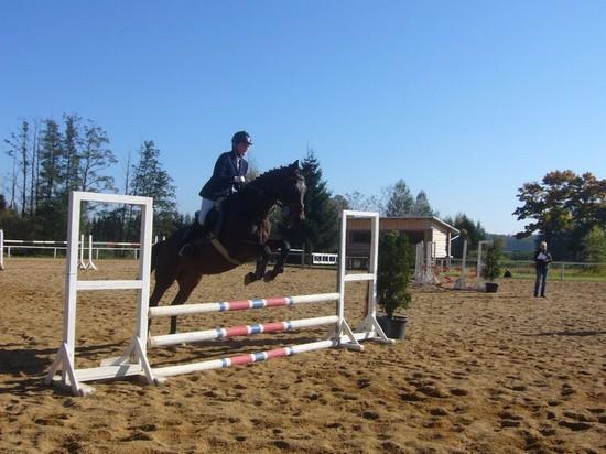 Marie Krákorová na koni Royal Able při skokové části Zkoušek základního výcviku jezdce