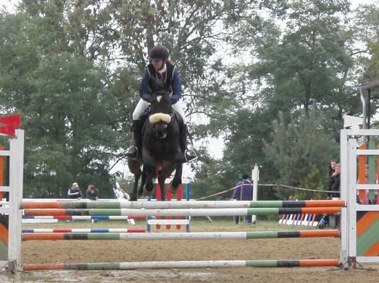 Radka Bubová s koněm Kerland při parkuru