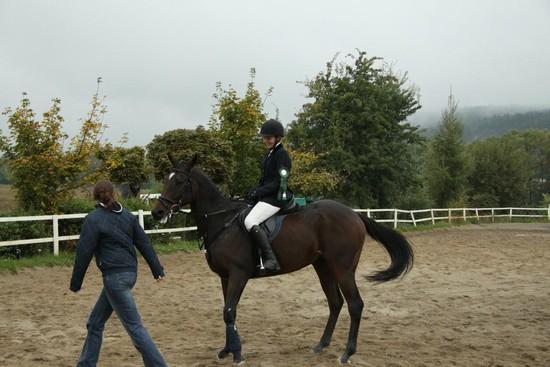 Radka Bubová s koněm Kerland při dekorování (parkur ZM - 5. místo)