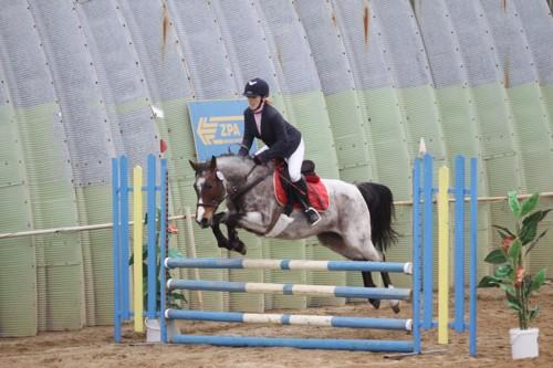 Libuška Květoňová na koni Dainty v parkuru LP 0 tr.b. + 0 tr.b. - 1. místo
